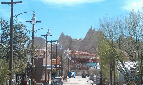 A look down Route 66 from the Blue Sky Cellar patio.